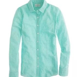 J Crew Perfect Shirt Green Gingham Size 4